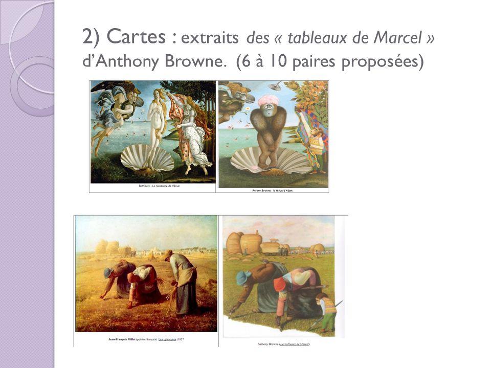 2) Cartes : extraits des « tableaux de Marcel » dAnthony Browne. (6 à 10 paires proposées)
