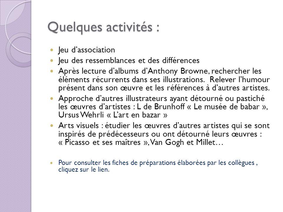Quelques activités : Jeu dassociation Jeu des ressemblances et des différences Après lecture dalbums dAnthony Browne, rechercher les éléments récurren