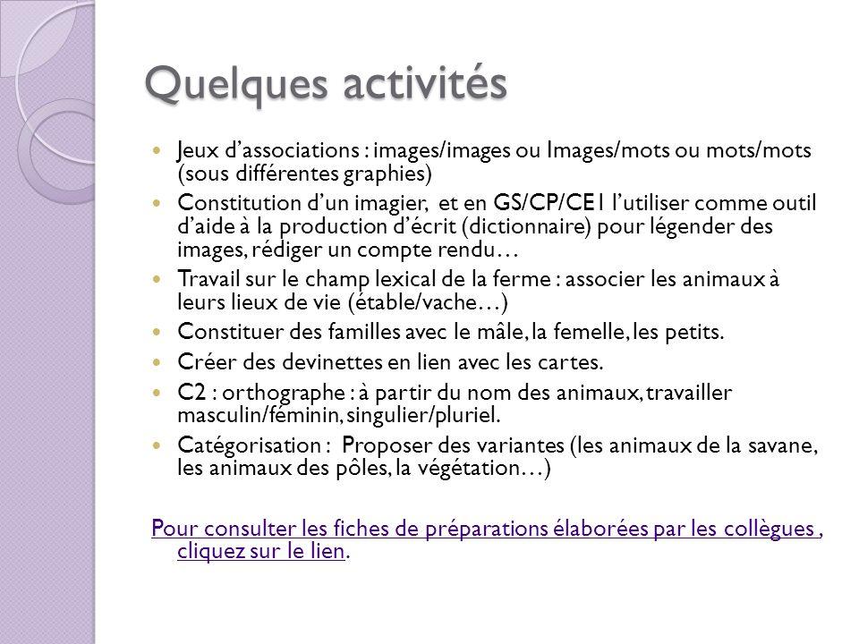 Quelques activités Jeux dassociations : images/images ou Images/mots ou mots/mots (sous différentes graphies) Constitution dun imagier, et en GS/CP/CE