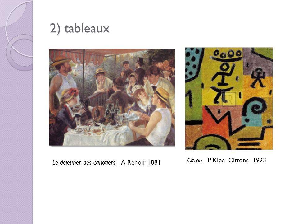 2) tableaux Le déjeuner des canotiers A Renoir 1881 Citron P Klee Citrons 1923