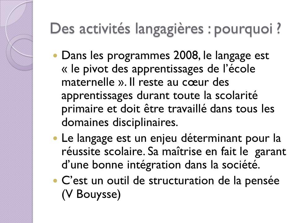 Des activités langagières : pourquoi ? Dans les programmes 2008, le langage est « le pivot des apprentissages de lécole maternelle ». Il reste au cœur