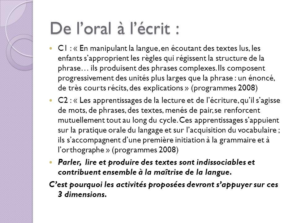 De loral à lécrit : C1 : « En manipulant la langue, en écoutant des textes lus, les enfants sapproprient les règles qui régissent la structure de la p