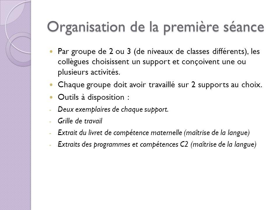 Organisation de la première séance Par groupe de 2 ou 3 (de niveaux de classes différents), les collègues choisissent un support et conçoivent une ou