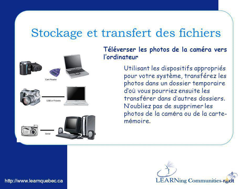 http://www.learnquebec.ca Stockage et transfert des fichiers Téléverser les photos de la caméra vers lordinateur Utilisant les dispositifs appropriés