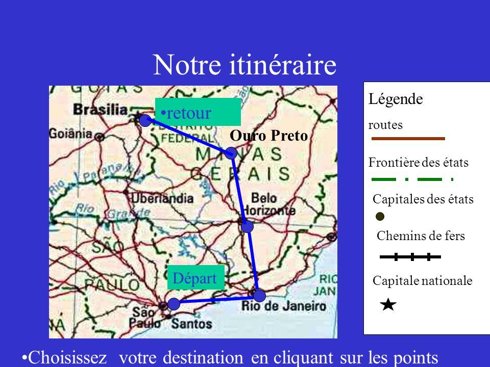 Notre itinéraire Légende routes Frontière des états Capitales des états Chemins de fers Capitale nationale Départ Choisissez votre destination en cliq