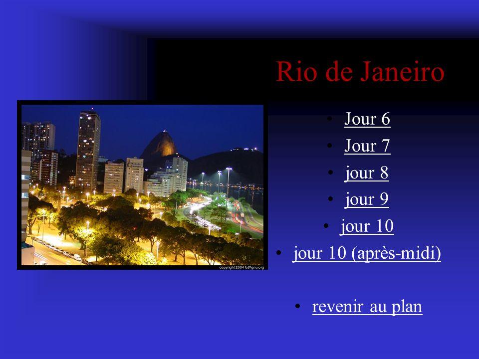 Rio de Janeiro Jour 6 Jour 7 jour 8 jour 9 jour 10 jour 10 (après-midi) revenir au plan