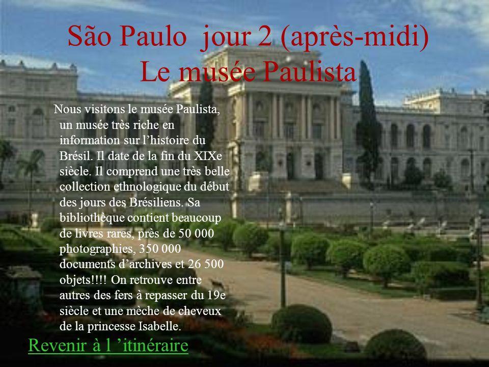 São Paulo jour 2 (après-midi) Le musée Paulista Nous visitons le musée Paulista, un musée très riche en information sur lhistoire du Brésil. Il date d