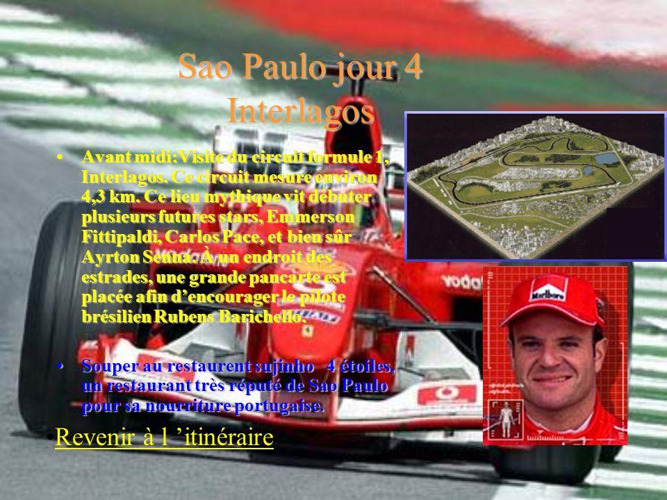 Sao Paulo jour 4 Interlagos Avant midi:Visite du circuit formule 1, Interlagos. Ce circuit mesure environ 4,3 km. Ce lieu mythique vit débuter plusieu