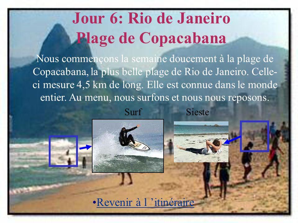 Jour 6: Rio de Janeiro Plage de Copacabana SiesteSurf Nous commençons la semaine doucement à la plage de Copacabana, la plus belle plage de Rio de Janeiro.