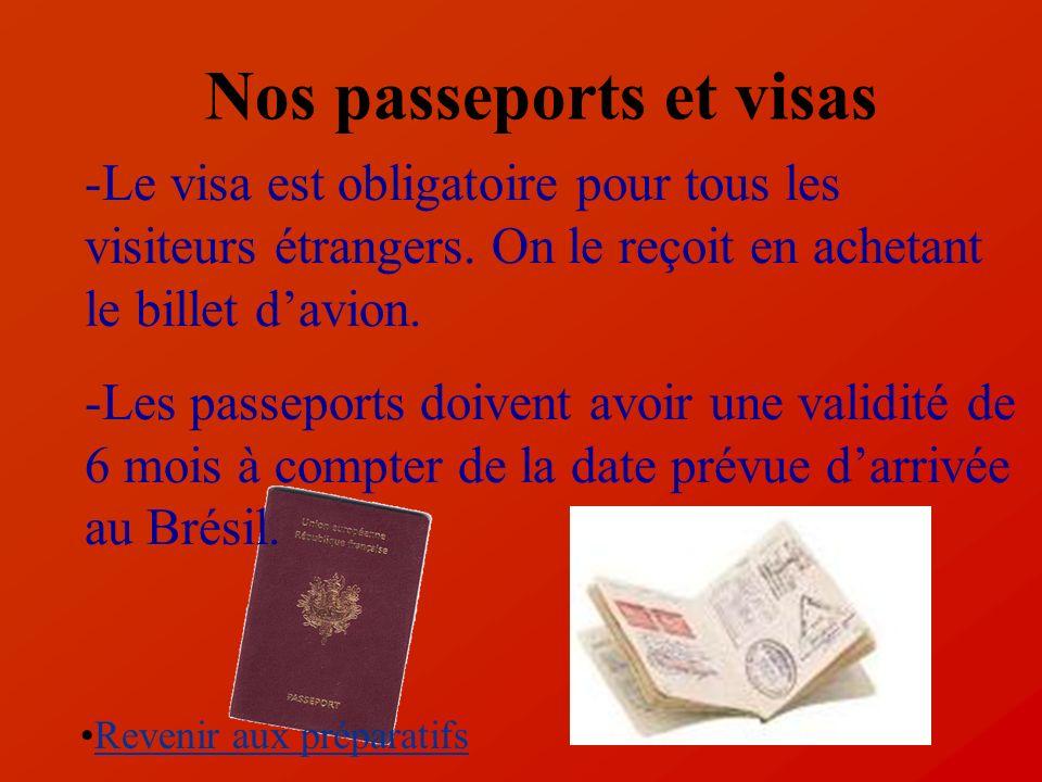 Nos passeports et visas -Le visa est obligatoire pour tous les visiteurs étrangers. On le reçoit en achetant le billet davion. -Les passeports doivent