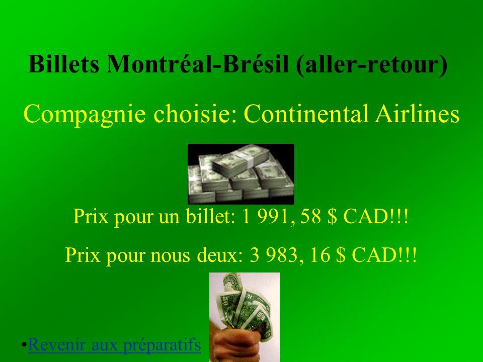 Billets Montréal-Brésil (aller-retour) Compagnie choisie: Continental Airlines Prix pour un billet: 1 991, 58 $ CAD!!! Prix pour nous deux: 3 983, 16