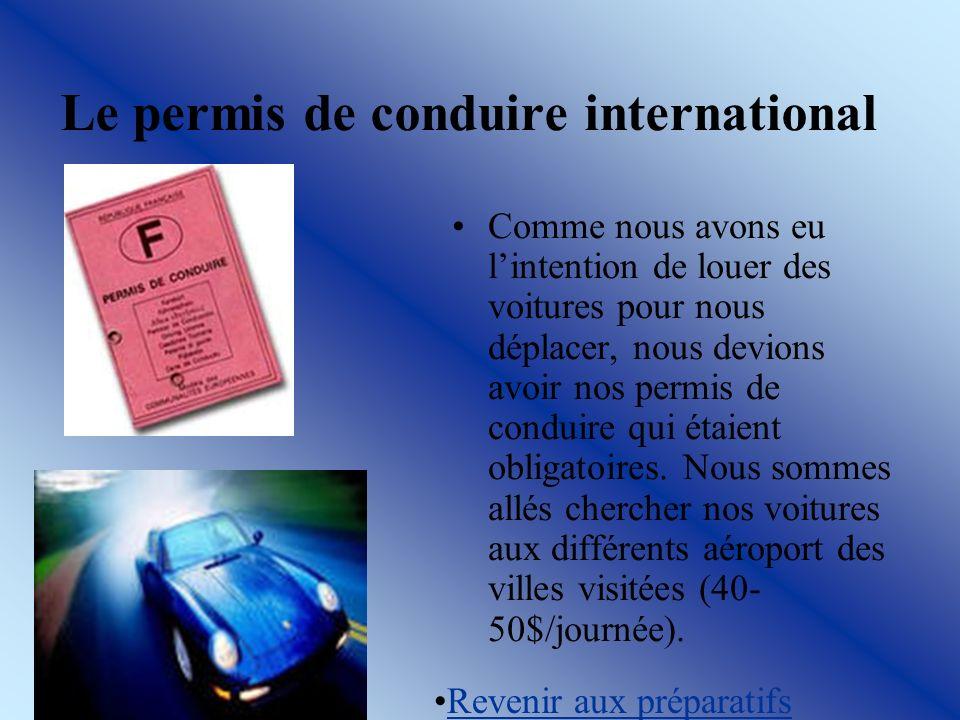 Le permis de conduire international Comme nous avons eu lintention de louer des voitures pour nous déplacer, nous devions avoir nos permis de conduire qui étaient obligatoires.