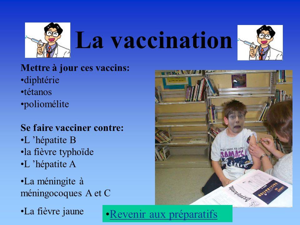 La vaccination Mettre à jour ces vaccins: diphtérie tétanos poliomélite Se faire vacciner contre: L hépatite B la fièvre typhoïde L hépatite A La méningite à méningocoques A et C La fièvre jaune Revenir aux préparatifs