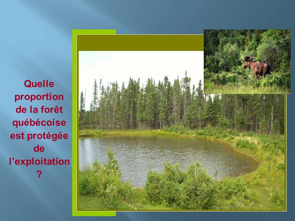 Insérer photo ici Quelle proportion de la forêt québécoise est protégée de lexploitation ?