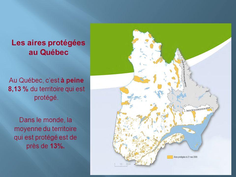Insérer photo ici Les aires protégées au Québec Au Québec, cest à peine 8,13 % du territoire qui est protégé. Dans le monde, la moyenne du territoire