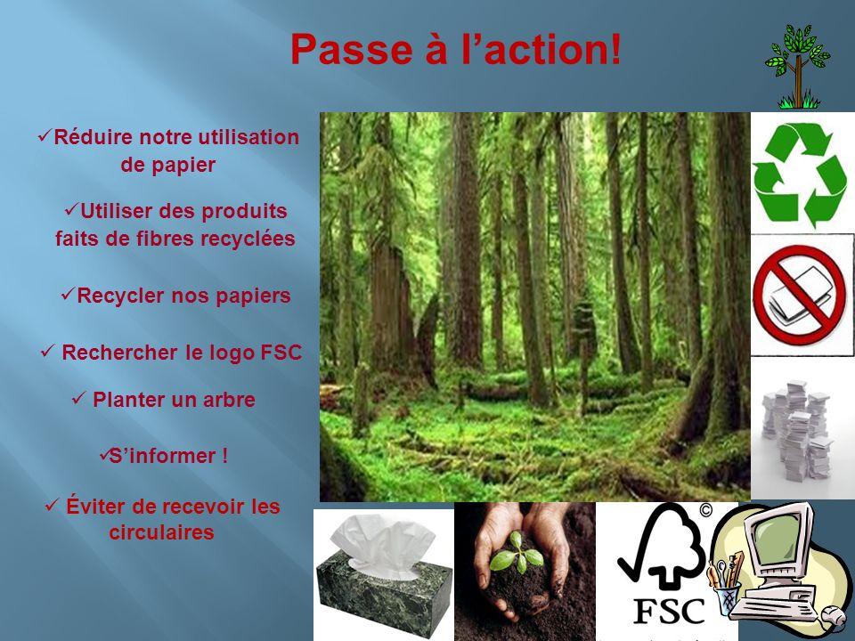 Passe à laction! Utiliser des produits faits de fibres recyclées Recycler nos papiers Réduire notre utilisation de papier Rechercher le logo FSC Plant
