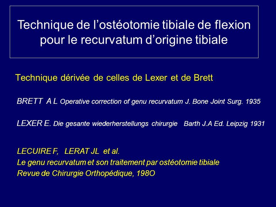 BRETT A L Operative correction of genu recurvatum J. Bone Joint Surg. 1935 LEXER E. Die gesante wiederherstellungs chirurgie Barth J.A Ed. Leipzig 193