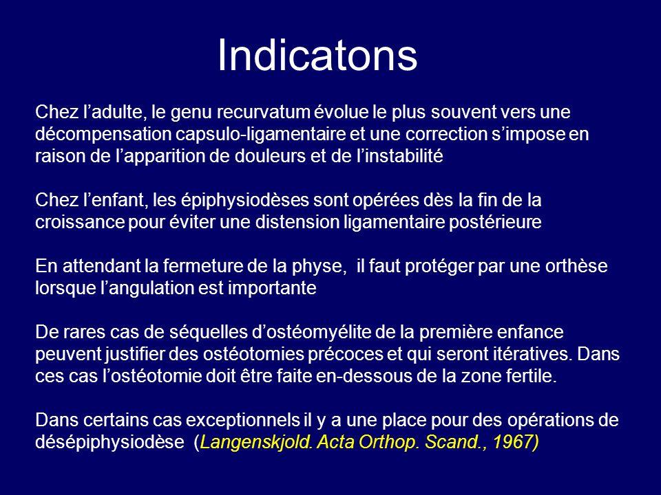 Chez ladulte, le genu recurvatum évolue le plus souvent vers une décompensation capsulo-ligamentaire et une correction simpose en raison de lapparitio
