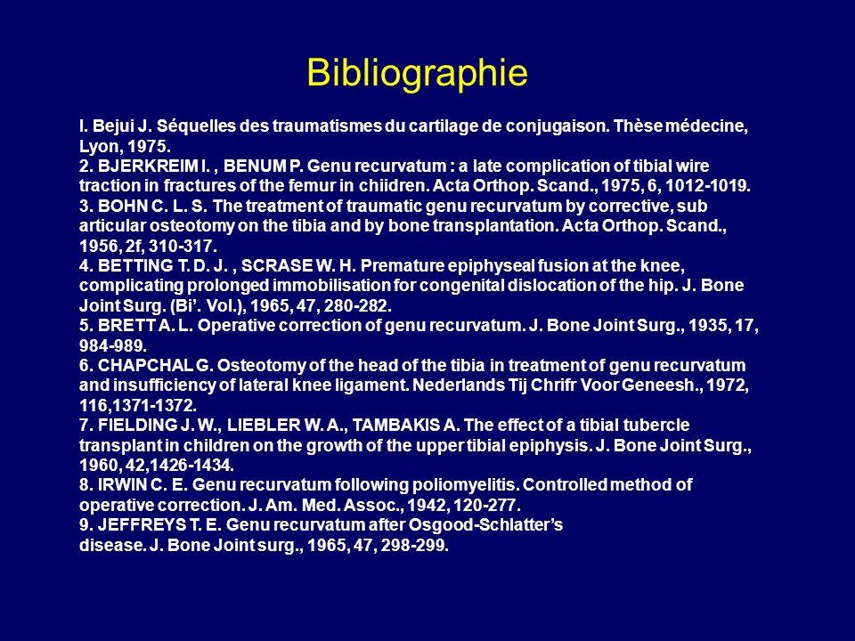 I. Bejui J. Séquelles des traumatismes du cartilage de conjugaison. Thèse médecine, Lyon, 1975. 2. BJERKREIM I., BENUM P. Genu recurvatum : a late com