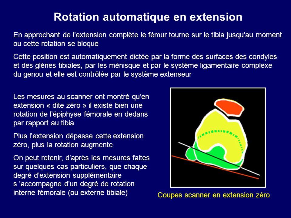 En approchant de lextension complète le fémur tourne sur le tibia jusquau moment ou cette rotation se bloque Cette position est automatiquement dictée