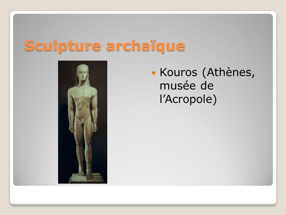 Sculpture archaïque Kouros (Athènes, musée de lAcropole)