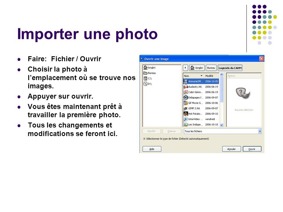 Importer une photo Faire: Fichier / Ouvrir Choisir la photo à lemplacement où se trouve nos images.