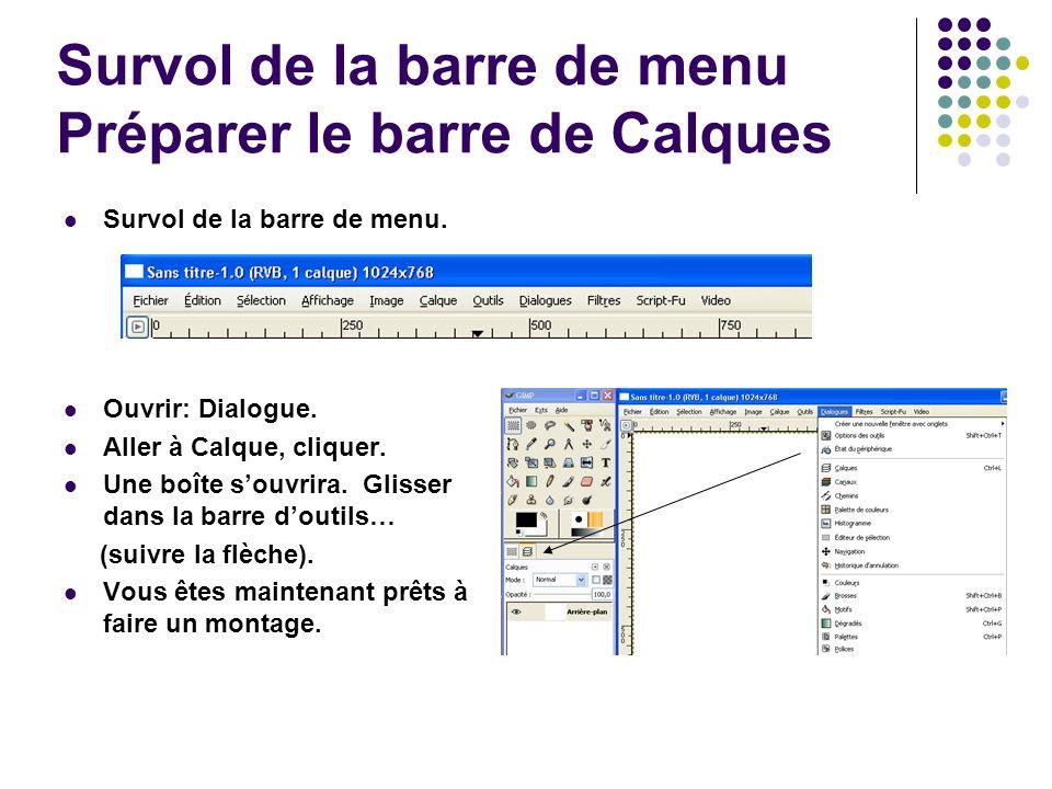 Survol de la barre de menu Préparer le barre de Calques Survol de la barre de menu.