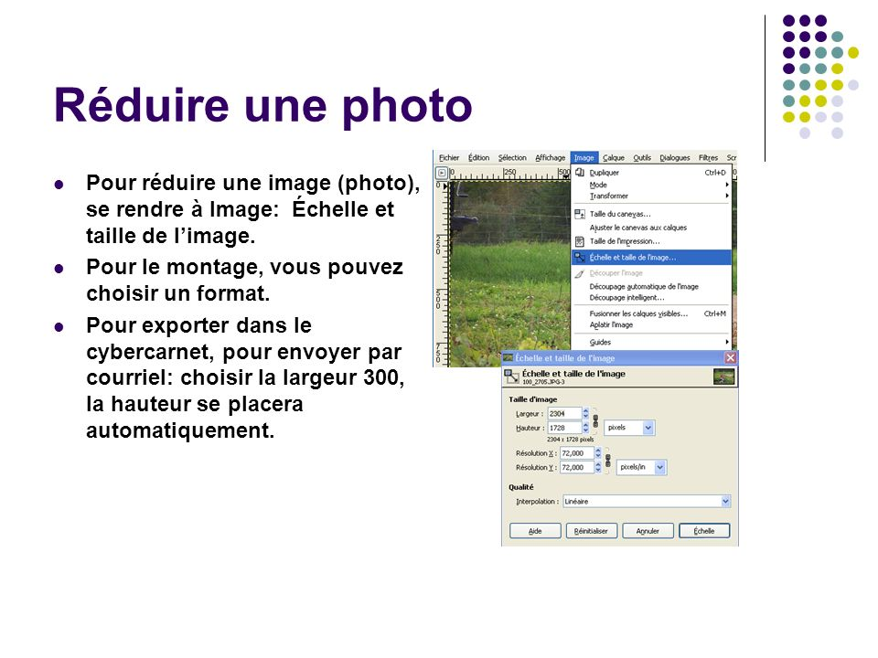 Réduire une photo Pour réduire une image (photo), se rendre à Image: Échelle et taille de limage.