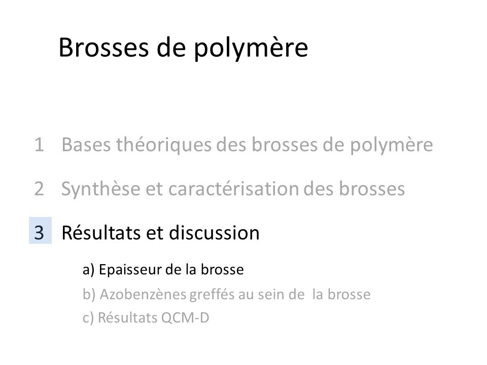 1Bases théoriques des brosses de polymère 2Synthèse et caractérisation des brosses 3Résultats et discussion a) Epaisseur de la brosse b) Azobenzènes g