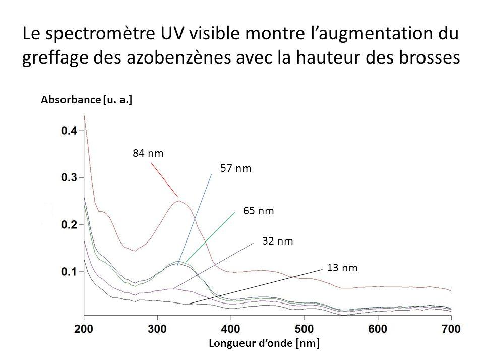 Le spectromètre UV visible montre laugmentation du greffage des azobenzènes avec la hauteur des brosses 84 nm 57 nm 65 nm 32 nm 13 nm Absorbance [u. a
