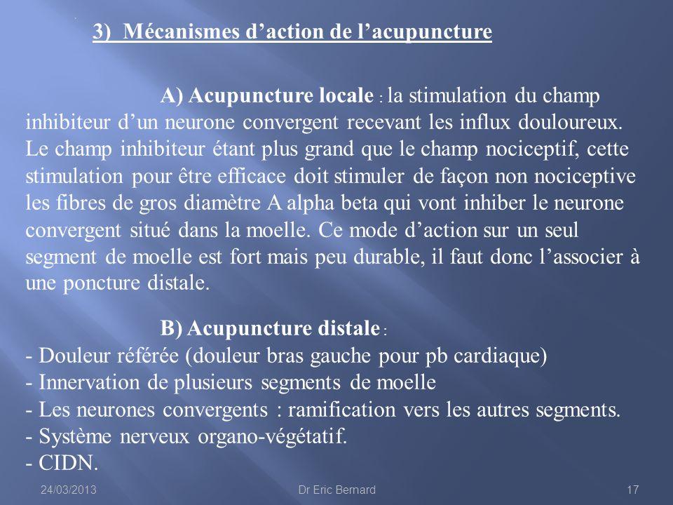 3) Mécanismes daction de lacupuncture A) Acupuncture locale : la stimulation du champ inhibiteur dun neurone convergent recevant les influx douloureux