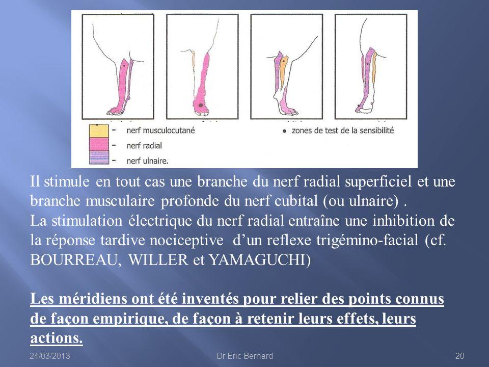 Il stimule en tout cas une branche du nerf radial superficiel et une branche musculaire profonde du nerf cubital (ou ulnaire). La stimulation électriq