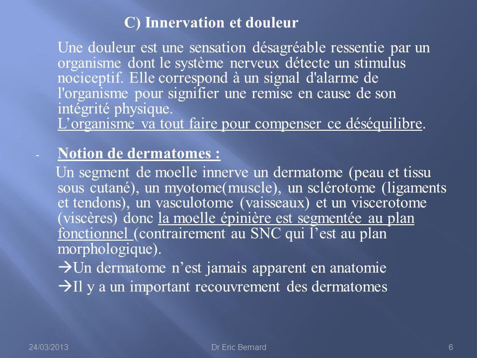 C) Innervation et douleur Une douleur est une sensation désagréable ressentie par un organisme dont le système nerveux détecte un stimulus nociceptif.
