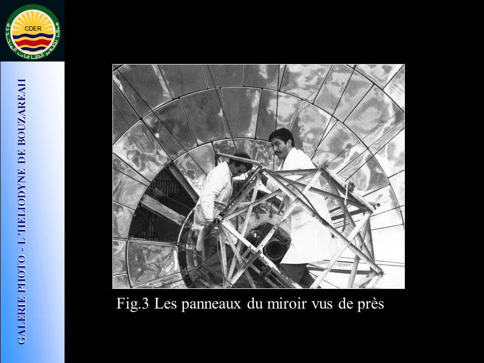 Fig.3 Les panneaux du miroir vus de près GALERIE PHOTO - L HELIODYNE DE BOUZAREAH