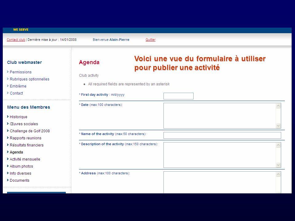 Voici une vue du formulaire à utiliser pour publier une activité