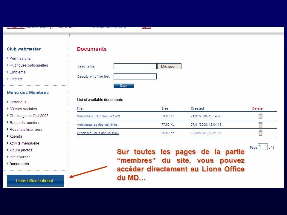 Sur toutes les pages de la partie membres du site, vous pouvez accéder directement au Lions Office du MD…