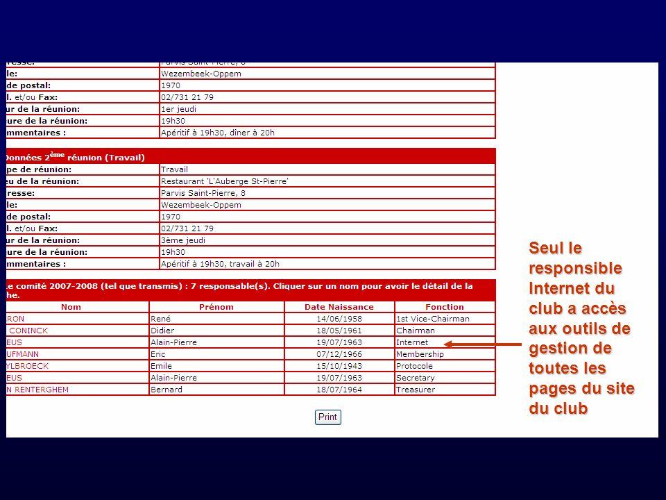Seul le responsible Internet du club a accès aux outils de gestion de toutes les pages du site du club