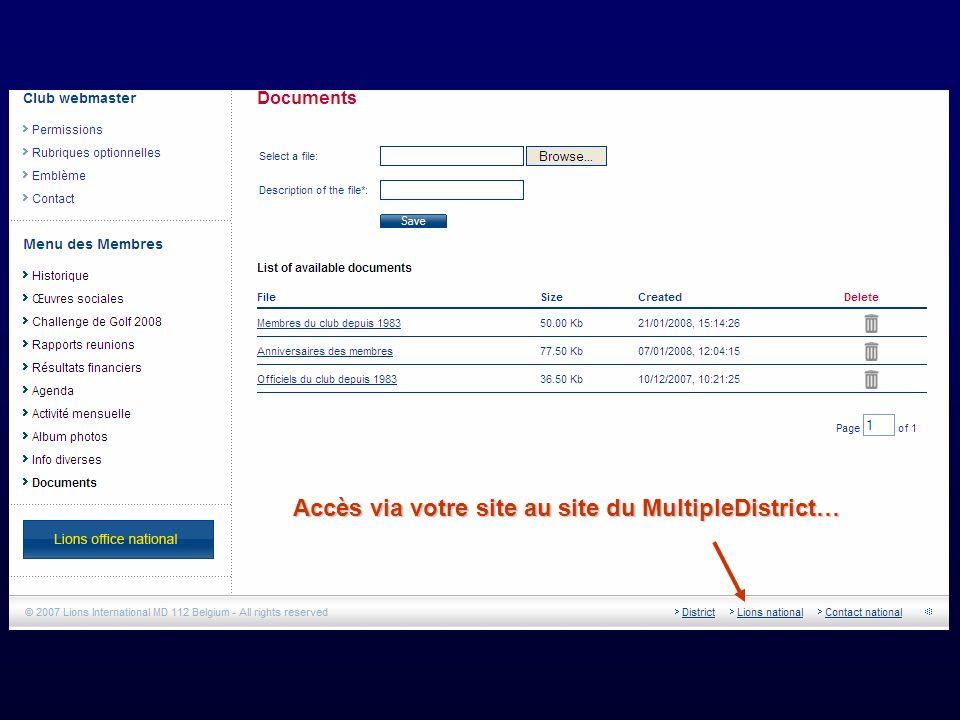 Accès via votre site au site du MultipleDistrict…