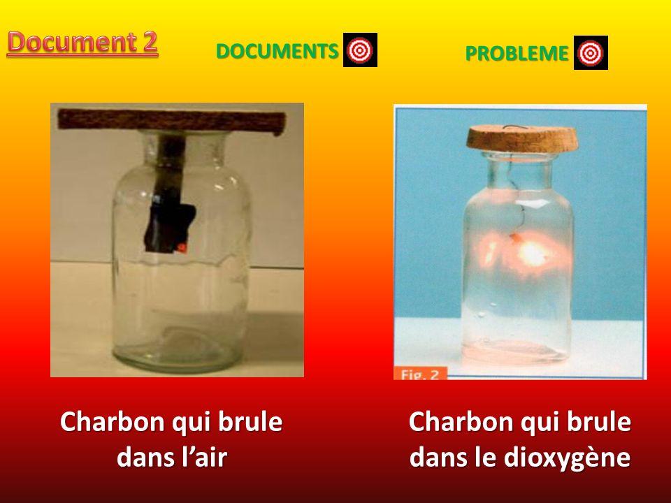 Charbon qui brule dans lair Charbon qui brule dans le dioxygène DOCUMENTS PROBLEME
