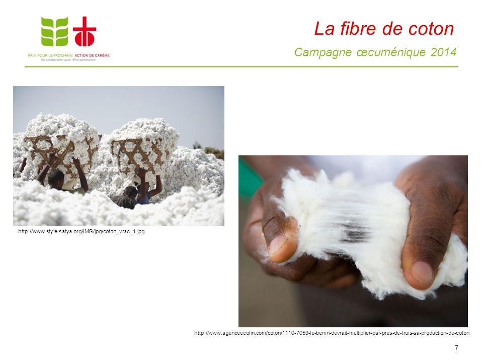 Campagne œcuménique 2014 La fibre de coton 7 http://www.agenceecofin.com/coton/1110-7059-le-benin-devrait-multiplier-par-pres-de-trois-sa-production-d