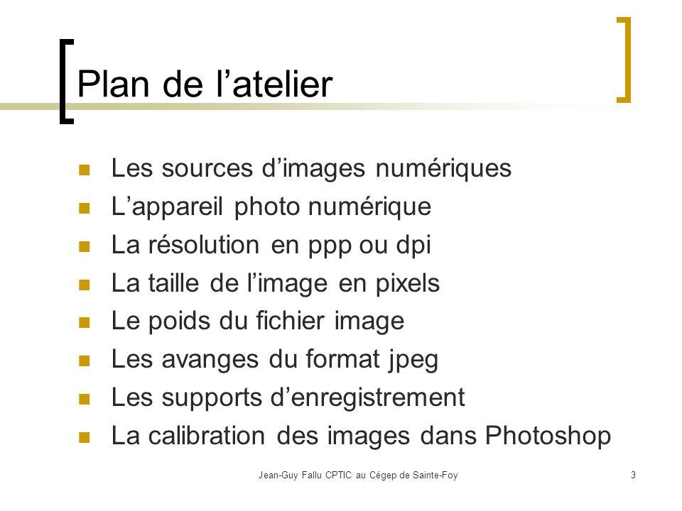Jean-Guy Fallu CPTIC au Cégep de Sainte-Foy14 Les avantages du format jpeg Si vous produisez avec un numériseur (suite): Pour l écran, 72 dpi sera suffisant avec une taille de de 800 x 600.