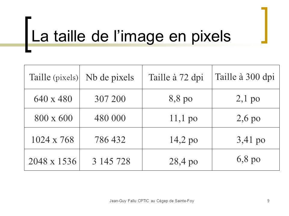 Jean-Guy Fallu CPTIC au Cégep de Sainte-Foy9 La taille de limage en pixels Taille (pixels) Nb de pixelsTaille à 72 dpi Taille à 300 dpi 640 x 480 800 x 600 2048 x 1536 1024 x 768 307 200 480 000 786 432 3 145 728 8,8 po 11,1 po 14,2 po 28,4 po 2,1 po 2,6 po 3,41 po 6,8 po