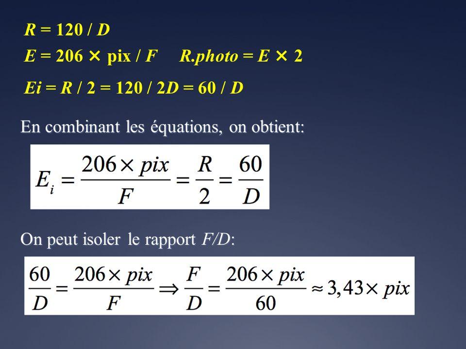 En combinant les équations, on obtient: R = 120 / D E = 206 × pix / FR.photo = E × 2 Ei = R / 2 = 120 / 2D = 60 / D On peut isoler le rapport F/D: