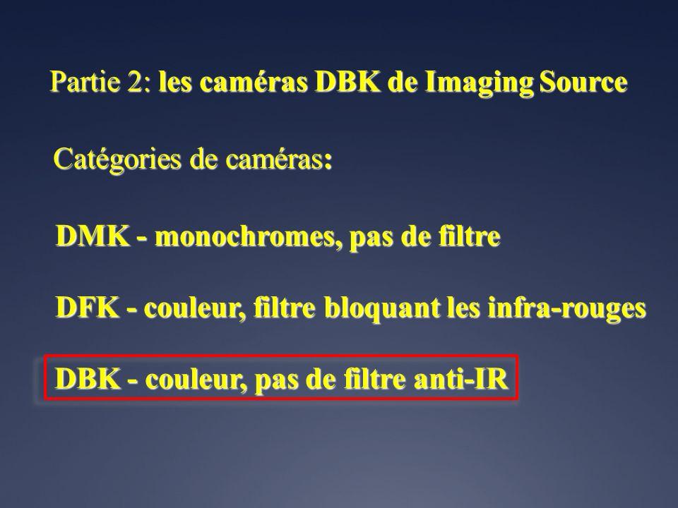 Catégories de caméras: DMK - monochromes, pas de filtre DFK - couleur, filtre bloquant les infra-rouges DBK - couleur, pas de filtre anti-IR