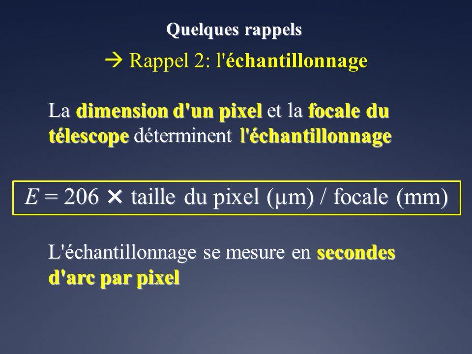 La dimension d'un pixel et la focale du télescope déterminent l'échantillonnage L'échantillonnage se mesure en secondes d'arc par pixel Rappel 2: l'éc