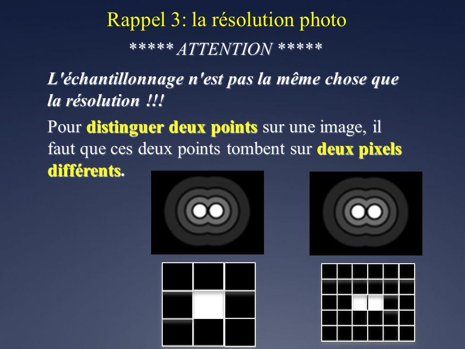 Rappel 3: la résolution photo ***** ATTENTION ***** L'échantillonnage n'est pas la même chose que la résolution !!! Pour distinguer deux points sur un