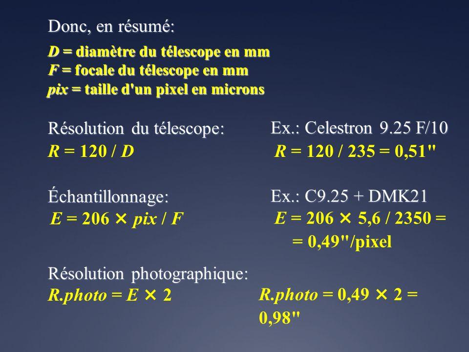 Donc, en résumé: R = 120 / D E = 206 × pix / F D = diamètre du télescope en mm F = focale du télescope en mm pix = taille d'un pixel en microns Résolu