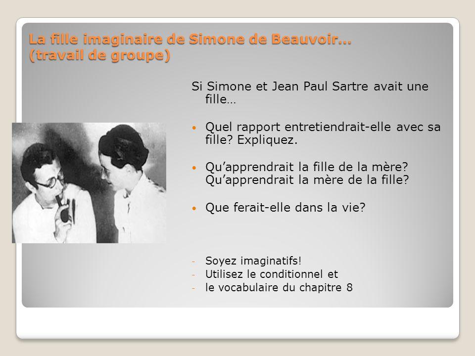 La fille imaginaire de Simone de Beauvoir… (travail de groupe) Si Simone et Jean Paul Sartre avait une fille… Quel rapport entretiendrait-elle avec sa