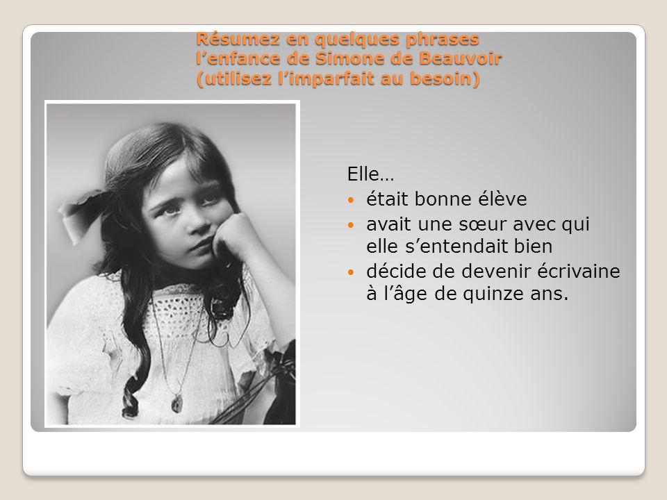 Résumez en quelques phrases lenfance de Simone de Beauvoir (utilisez limparfait au besoin) Elle… était bonne élève avait une sœur avec qui elle senten