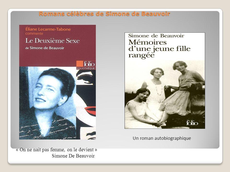 Romans célèbres de Simone de Beauvoir « On ne nait pas femme, on le devient » Simone De Beauvoir Un roman autobiographique